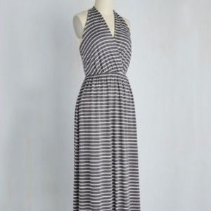 Modcloth Gilli Striped Maxi Dress, Gray/White, S